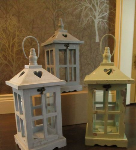 Chalk Paint Square Lanterns with Heart Design (Set of 3)